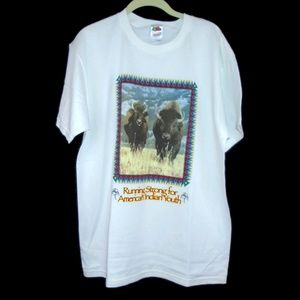 American Indian Youth Shirt Buffalo White Large